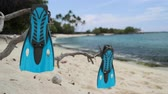 barbatanas : Snorkel vacation travel holidays concept with snorkeling fins on beach. Blue flippers snorkel equipment on. Tropical beach getaway vacation. Watersport fun activity: snorkeling.