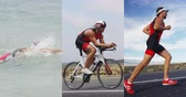 rastejar : Triathlon - Triathlete man swimming, running and cycling in triathlon suit for ironman race. Composite of male triathlete doing crawl swim, biking on triathlon bike, and doing final run discipline. Stock Footage