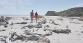 pântano : Couple walking on beach holding hands romantic in New Zealand - young people in Ship Creek on West Coast of New Zealand. Tourist couple sightseeing on South Island of New Zealand. SLOW MOTION. Stock Footage