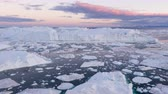 buzdağı : Ice and Icebergs from glacier - amazing arctic nature landscape aerial video of icefjord filled with icebergs from melting glacier Sermeq Kujalleq, Ilulissat, Greenland. Midnight sun. Stok Video
