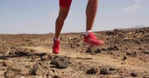 runners : Runner Man Running on Trail Exercising Outdoors. SLOW MOTION 120 fps. Sportsman Sprinting Closeup of Legs and Running Shoes during Morning Training. Healthy Lifestyle. Shot on RED Stock Footage