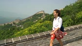 badaling : Great Wall China travel. Tourist woman in Asia walking on famous Chinese tourist destination and attraction in Badaling north of Beijing.