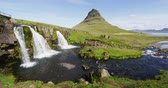 most : Iceland nature Kirkjufell mountain landscape on West Iceland on the Snaefellsnes peninsula. Iceland tourist destination and most photographed Icelandic mountain and famous icon Dostupné videozáznamy