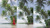 típico : Vertical Video of Beach Vacation Travel Holidays in French Polynesia. Paradise beach with palm trees. Video from Motu in Bora Bora, Tahiti