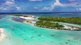 lagune : Rangiroa aerial drone video of atoll island motu and coral reef in French Polynesia, Tahiti. Amazing nature landscape with blue lagoon and Pacific Ocean. Tropical island paradise in Tuamotus Islands. Stock Footage