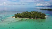 palmeiras : Aerial drone video from French Polynesia of Motu Mahaea, Tahaa, Tahiti. Aerial view of Paradise island with palm trees and turquoise blue water in coral reef lagoon Tahiti, South Pacific Ocean.