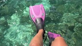 Travel vacation beach concept Snorkel feet snorkeler having fun with pink snorkel fins. Legs closeup of swimmer relaxing on coral reef sea background. Real time
