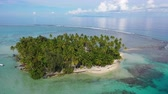 Tropical island paradise - Aerial drone video from French Polynesia of Motu Mahaea, Tahaa, Tahiti. Aerial view of atoll with palm trees, turquoise blue water in coral reef lagoon, South Pacific Ocean. Stok Video