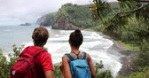 Hiking active lifestyle couple in Hawaii beach USA vacation on Pololu Valley hike to beach looking at ocean landscape mountains background. Big Island, Hawaii. 動画素材