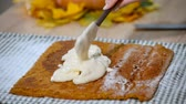 afters : Cooking Pumpkin roll with cream.