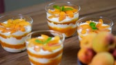 mousse raser : Garnish with mint leaves apricot mousse