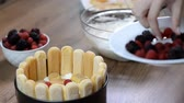 bolo de queijo : Cooking Charlotte  cake with berries and cream. Stock Footage