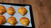 vajas : Fresh baked croissants on baking sheet