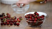 çukur : Cherry pitter in hand and cherries on plate.