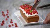 заварной крем : Raspberry Cake for holidays. Cutting Raspberry Cake Стоковые видеозаписи