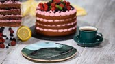 black currant : Piece of chocolate cake with icing and fresh berry.
