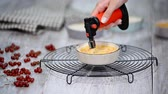 red currant : Burn portion of creme brulee dessert on kitchen. Stock Footage