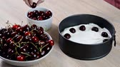 indulgence : Cooking process. Making no bake cherry cheesecake. Stock Footage