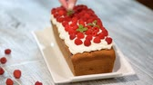 soft fruits : Cake with raspberries and mint leaves