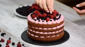 amoras : Pastry chef decorates a cake with berries. Chocolate cake with berries