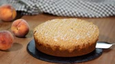 crumble : Slice of fresh homemade peach cake.