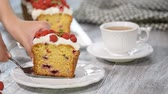 cominho : A Slice of Summer Pound Cake with Raspberries Topped with Sugar Glaze.