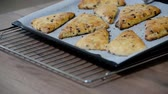 conserva : Traditional English Scones with chocolate on the Table. Stock Footage