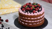 Chocolate cake with summer berries. Wideo