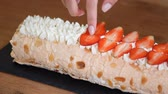 mascarpone : Meringue roll decorated with berries.