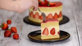 A piece of strawberry cake. Strawberry cake Fraisier with vanilla cream