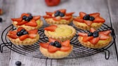 mascarpone : Beautiful delicious summer tartlets with fresh custard creamy filling topped with strawberry and blueberry