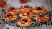 topped : Beautiful delicious summer tartlets with fresh custard creamy filling topped with strawberry and blueberry