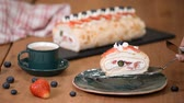 mascarpone : Meringue Cake Roll Slice On A Plate With Berries. Anna Pavlova dessert.