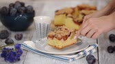 crumble : Piece Of Plum Pie With Crumble. Stock Footage