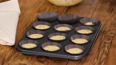 chocolate mold : The Process Of Preparing Cupcakes In The Kitchen.