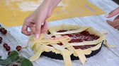 mora : Preparing At Home Fresh And Sweet Homemade Cherry Pie On A Kitchen.