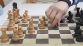 in a chess game black pawn take white pawn Stock Footage