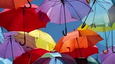 article : Background colorful umbrella street decoration.
