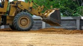durability : Earthmover dozer doing earthmoving works outdoors. Video Stock Footage