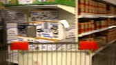 lifestyle : customers bought goods and trolley rides to the checkout. Video shift motion time lapse speed up