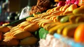 mangos : Exotic fruits for sale in the street Asian  market. Video Stock Footage