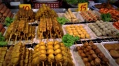 quibe : Grilled sausages on a night market. Thailand Koh Samui Stock Footage