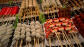 quibe : Street food in Thailand - fried sausages, meatballs and chicken