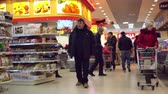 flirting : RUSSIA, MOSCOW, 7 MARCH 2015, 4k Timelapse speed up. People shopping at the grocery supermarket. Stock Footage