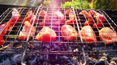ash : Tomatoes and peppers are cooking on coals in grill. Outdoors video with sunshine and beautiful lens flare effect. 4k