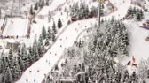 maket : Overview of the ski lifts from snow-covered forest and snow catchers on ski resort in slow motion. 3840x2160 Stock Footage