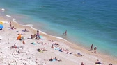 karon : Russia, Crimea, 5 july 2017. Top of view beach in Crimea on summer. slow motion. 3840x2160