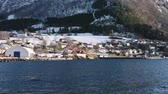 Fjord with snow landscape, Volda Wideo
