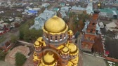 Aerial shot of Holy Trinity Convent of Mercy. Saraktash. Russia.