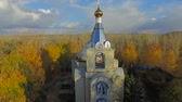 Aerial shot of church in little town in Russia.